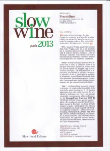 Slow Wine 2013 Commento ai vini Praesidium